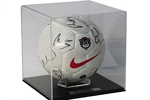 Acrylic Football Display Case with Primo black base and FREE personalised plaque from Dream Keepers
