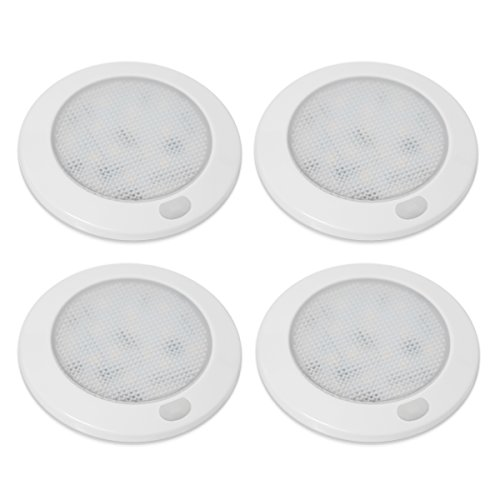 Dream Lighting Caravan Interior LED Lights with Dimmer Function 76mm White Plate Warm White Pack of 4 from Dream Lighting