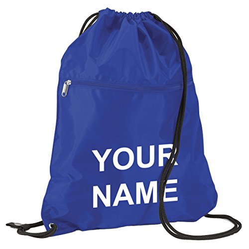 Large Senior School Childrens Kids PE Kit Gym Sack Book Bag With Name Printed On (Royal Blue with White Print) from Dream