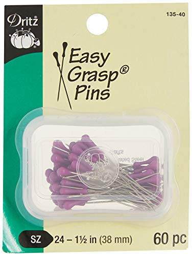 Dritz Easy Grasp Pins-Purple, Multicoloured, 1-1/2-Inch (38mm) (60-Count) from Dritz