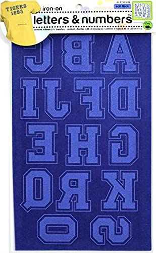 Dritz Fabric Soft Flock Iron-On Letters and Numbers 1.75-inch Collegiate-Royal Blue from Dritz