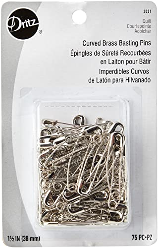 Dritz Steel Quilting Brass Curved Basting Pins, Size Two from Dritz