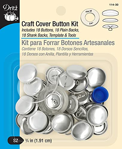Dritz Craft Cover Button Kits-Size 30 18/Pkg, Steel, Nickel, (3/4-Inch) from Dritz