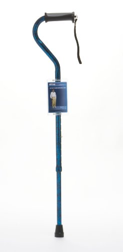 Drive DeVilbiss Healthcare Swan Neck Folding Walking Stick with Gel Grip Handle (Blue) from Drive DeVilbiss Healthcare