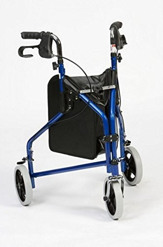 Drive Medical Blue Steel Three Wheeled Tri Walker with Brakes & Shopping Bag from Drive Medical