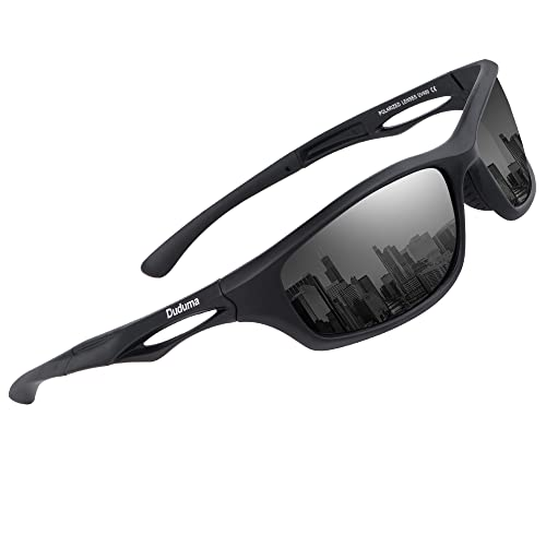 Duduma Polarised Sports Mens Sunglasses for Ski Driving Golf Running Cycling Tr90 Superlight Frame Design for Mens and Womens (black matte frame with black lens) from Duduma