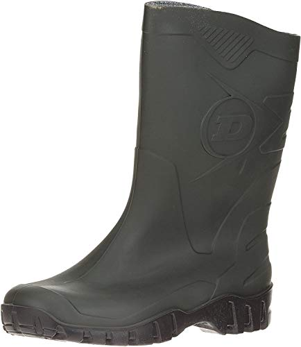 DUNLOP Short Leg Half-Height Wellies Easier On & Off Good For Wider Calf Fitting,Green/Black Sole,8 UK from Dunlop