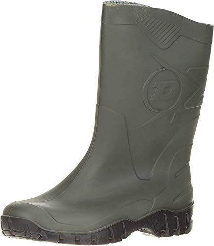 DUNLOP Short Leg Half-Height Wellies Easier On & Off Good For Wider Calf Fitting,Green/Black Sole,10.5 UK from Dunlop