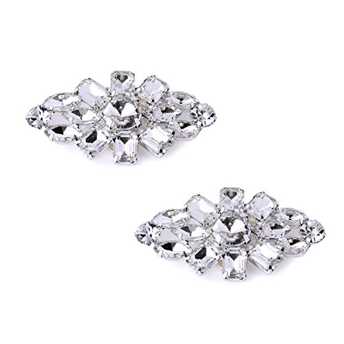 Duosheng & Elegant AL Clutch Dress Hat Shoes Decorations Clips Accessories Crystal Decorative Shoe Clips Wedding Party Gifts Silver 2 Pcs from Duosheng & Elegant