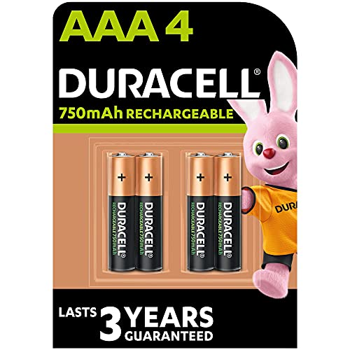Duracell DC2400 Recharge Plus Type AAA Battery - 750mah, Pack of 4 -Multicolour from Duracell