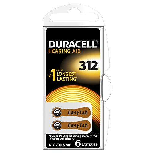 Duracell Size 312 1.4 V Zinc Air EasyTab Hearing Aid Batteries - Pack of 6 from Duracell