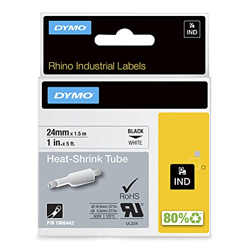 Dymo 1805443 Rhino Industrial Heat Shrink Label Tubes, Self-Adhesive, 24 mm x 1.5 m - Black on White from Dymo