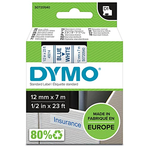 Dymo D1 Standard Self-Adhesive Labels for LabelManager Printers, 12 mm x 7 m - Blue Print on White from Dymo