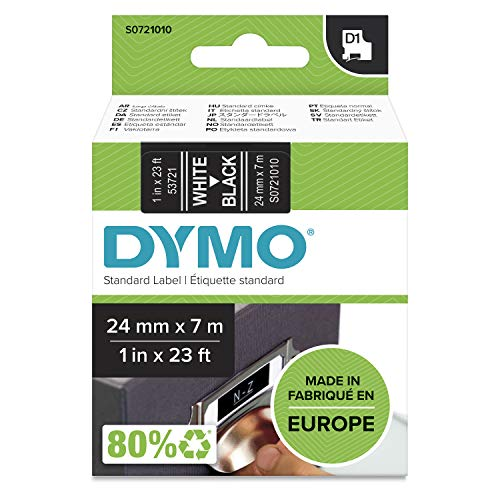 Dymo D1 Standard Self-Adhesive Labels for LabelManager Printers, 24 mm x 7 m - White Print on Black from Dymo