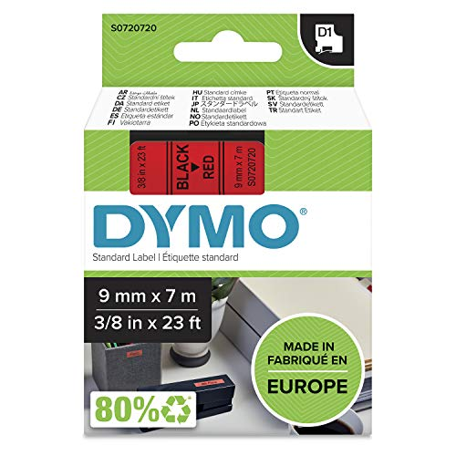 Dymo D1 Standard Labelling Tape 9mm x 7m - Black on Red from Dymo