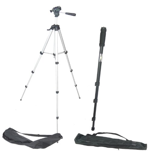 DynaSun WT363 Tripod and WT1003 171cm Monopod Professional Camera Tripod Lightweight Stand Kit with 3 Way Head System and Carry Case from DynaSun