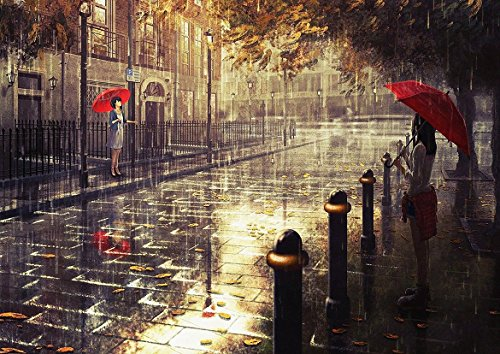 Abstract London City RAIN RED Umbrella Poster (A0 (1189x841MM)) from Dynamo Printing Ltd