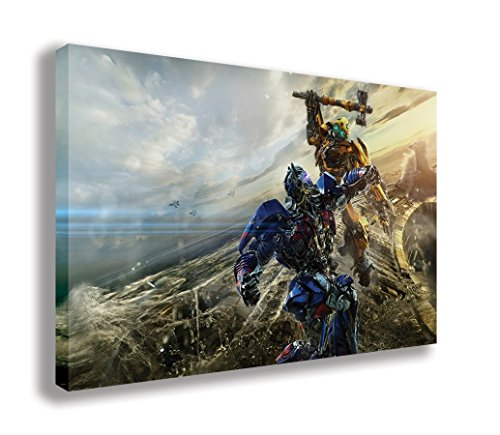 "Bumblebee VS Optimus Prime Transformers The Last Knight Canvas Wall Art (30"" X 18"" / 75 X 45cm) from Dynamo Printing Ltd"