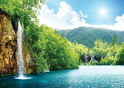 Nature Waterfall Summer Lake Trees Landscape Poster (A1-841x594MM) from Dynamo Printing Ltd