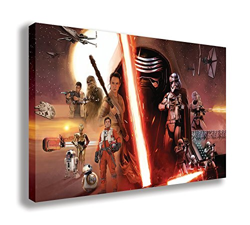 "Star Wars Episode 7 The Force Awakens Canvas Wall Art (44"" X 26"" / 110 X 65cm) from Dynamo Printing Ltd"