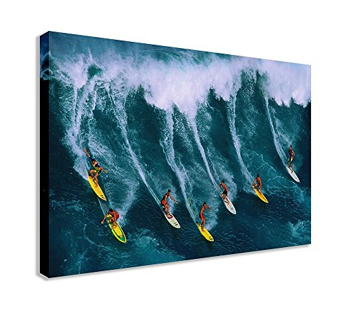 "Surfers Big Wave Canvas Wall Art (30"" X 18"" / 75 X 45cm) from Dynamo Printing Ltd"