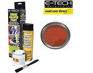 E-Tech Brake Caliper Paint - MATT RED - Complete Kit Inc Paint/Cleaner & Brush from E-Tech