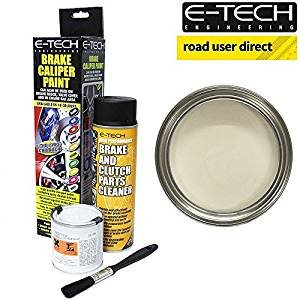 E-Tech Brake Caliper Paint - WHITE - Complete Kit Inc Paint/Cleaner & Brush from E-Tech