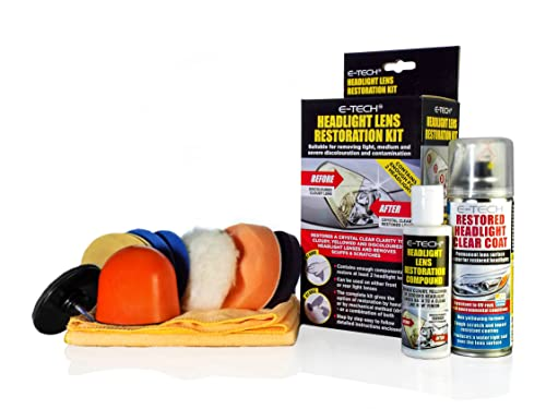 E-Tech Headlight Lamps Tail Lights Clear Clarity Lens Restoration Restore Kit from E-Tech