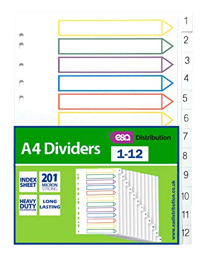 A4 File Dividers Plastic Coloured Tabs Subject Filing Numbered A-Z Extra Wide (A4 1-12 Dividers) from E&A Distribution Limited