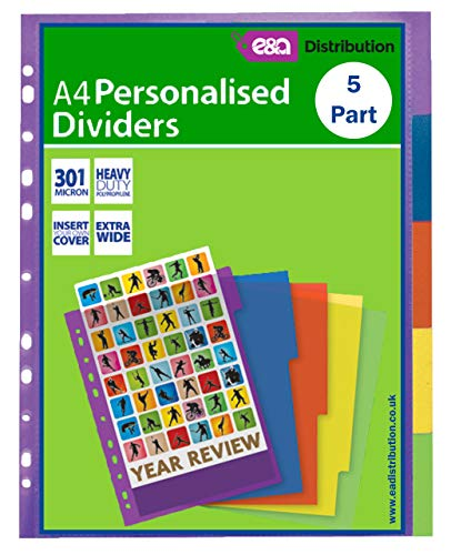A4 File Dividers Plastic Coloured Tabs Subject Filing Numbered A-Z Extra Wide (A4 5 Part Extra Wide Personalised) from E&A Distribution Limited