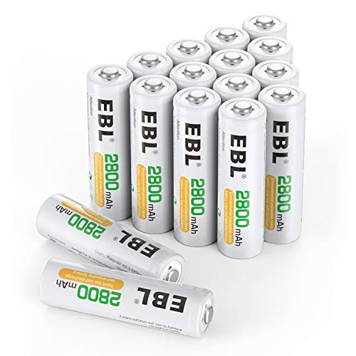 EBL 16pcs 2800mAh Ni-MH Rechargeable AA Batteries, High Capacity AA Battery with Batteries Storage Cases from EBL