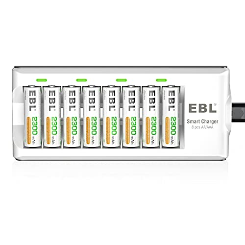 EBL AA AAA Battery Charger with 8pcs 2300mAh Rechargeable AA Batteries, Battery and Charger Set from EBL