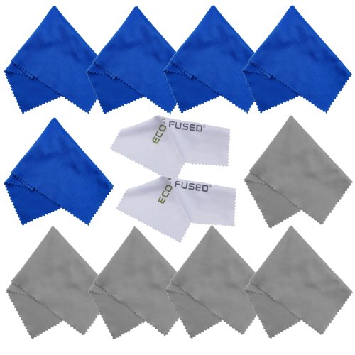 Eco-Fused Microfiber Cleaning Cloths - 12 Pack - Ideal for Cleaning Glasses, Spectacles, Camera Lenses, iPad, Tablets, Phones, iPhone, Android Phones, Laptops, LCD Screens and Other Delicate Surfaces from Eco-Fused
