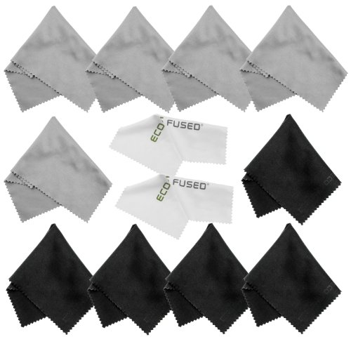Microfiber Cleaning Cloths - 10 Colorful Cloths and 2 White ECO-FUSED Cloths - Ideal for Cleaning Glasses, Spectacles, Camera Lenses, iPad, Tablets, Phones, iPhone, Android Phones, LCD Screens and Other Delicate Surfaces (Black/Grey) from Eco-Fused