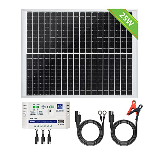 ECOWORTHY 12V 25W Solar Panel System: 1pc 25W Polycrystalline PV Panel with 3 Wire & 30A Battery Clips with 6 Feet Extension Cable & 3A 12V/24V Solar Module from ECOWORTHY