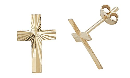 9ct Gold Ladies Cross Stud Earrings - 11mm*7mm WJS1851 from EDS Jewels