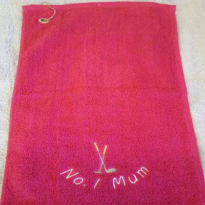 Personalised Terry Towelling GOLF CLUBS Sports Towel Embroidered With A Curved Personalised Name - 50x30cm (Pink) from EFY
