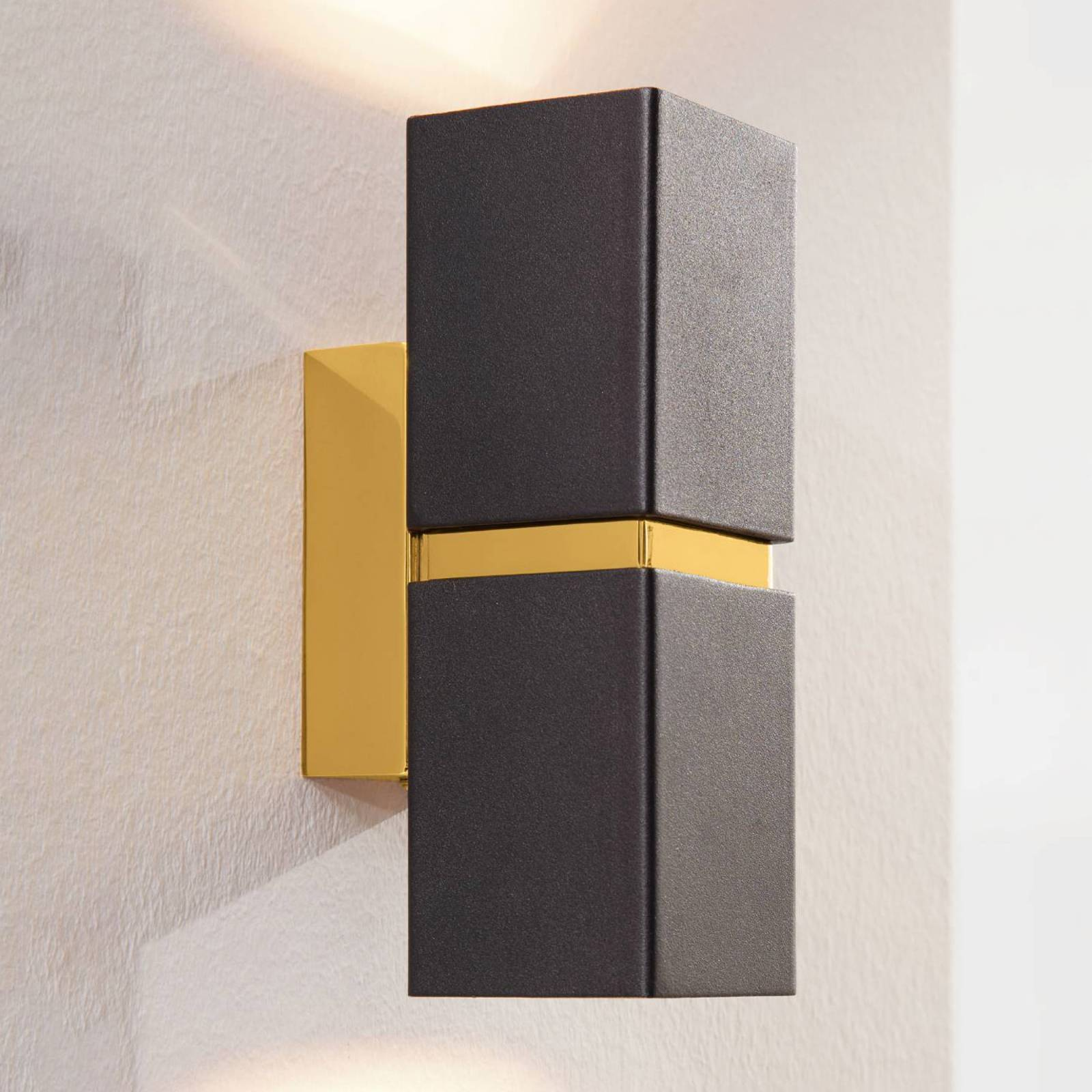 2-bulb LED wall light Passa, black-gold from EGLO