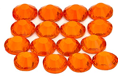 Pack of 100 EIMASS® Large Size ss30 (6.5mm) Hotfix DMC Rhinestones Glass Crystals Gems Diamante Iron on Glue on (Hyacinth Orange) from EIMASS® London Based Company