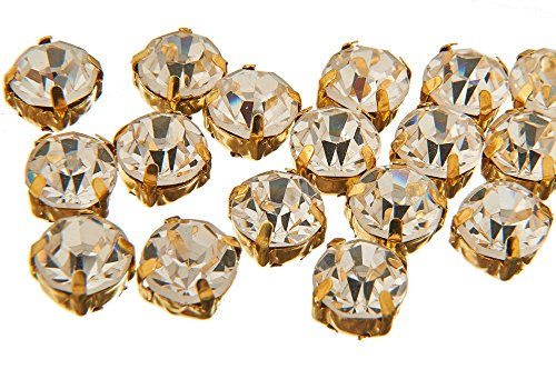 Pack of 100 Stunning Quality Sew on Glue on Point Back Glass Rhinestones in Flat back Silver & Gold Casings (ss35 (7mm), Clear Crystal in Gold Casing) from EIMASS®