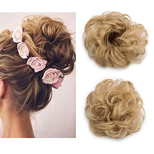 OnePcs Synthetic Hair Bun Hair Scrunchies Extension Hairpiece Wig Ponytail Hair Extensions Short Thick Fashion Dark Blonde + Ash Blonde from Elailite
