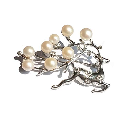 ELAINZ HEART The Lucky Deer Silver Plated Stunning Pearl brooches and pins for Women and Girls with 5pcs 7-8mm+3pcs 6-7mm Freshwater Cultured White Button Pearls from ELAINZ HEART