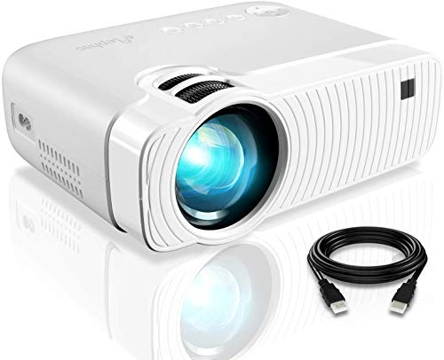"Mini Projector, ELEPHAS 3800 Lumens Portable Projector Max 180"" Display 50000 Hours Lamp Life LED Video Projector Support 1080P, Compatible with USB/HD/SD/AV/VGA for Home Theater (White) from ELEPHAS"