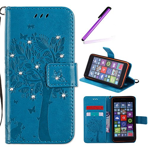 EMAXELERS Nokia Lumia 640 Case Bling Crystal Wishing Tree Embossed Pattern Pu Leather Wallet Magnetic Flip Cover with Strap Stand and Card Holder for Microsoft Lumia 640,Blue Diamond Wishing from EMAXELERS