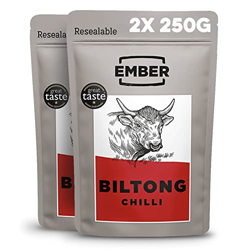 EMBER Biltong Bulk Bag - Beef Jerky -  High Protein Biltong Snack. (Chilli, 500g) from EMBER