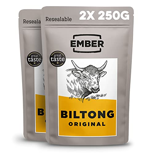 EMBER Biltong Bulk Bag – Original Beef Jerky. High Protein Biltong Snack. (Original, 500g). from EMBER
