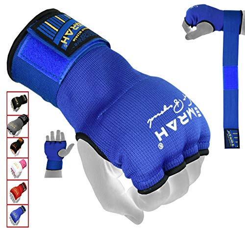 EMRAH PRO Training Boxing gel Inner Gloves Hand Wraps MMA Fist Protector Bandages Mitts-X (Blue, Small) from EMRAH