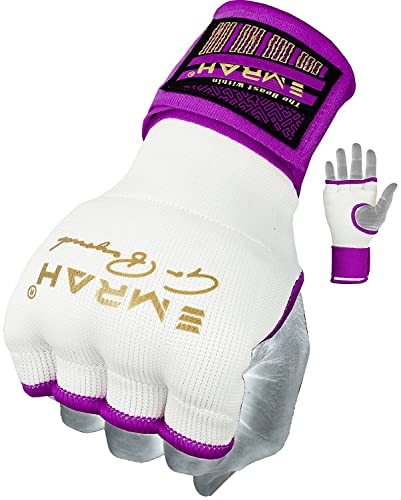 EMRAH Ladies Gel Inner Hand Wraps Gloves Boxing Fist Pink Bandages MMA Women (Purple, Small) from EMRAH