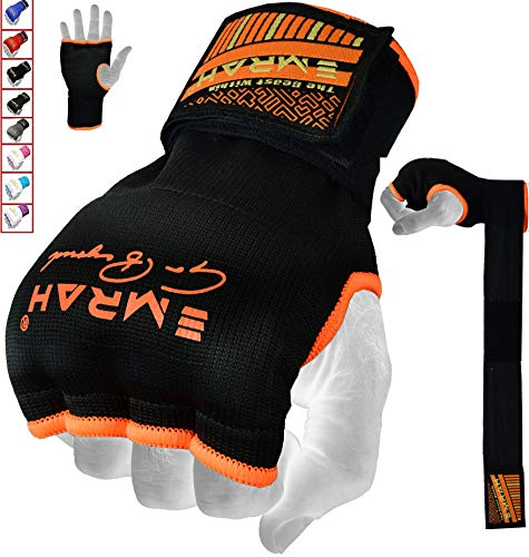 EMRAH PRO Training Boxing gel Inner Gloves Hand Wraps MMA Fist Protector Bandages Mitts-X (Orange, Medium) from EMRAH