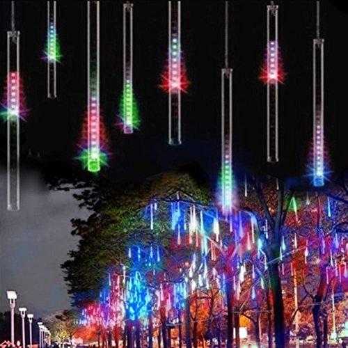 Rain Lights, EONANT 30cm 10 Tubes 360LEDs Solar Falling Lights Meteor Shower Lights Rain Drop Lights for Trees Parties Wedding Garden House Decoration (Multicolor) from EONANT